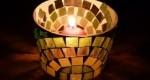 Manualidad Portavelas hecho con mosaico de vidrio